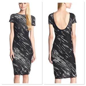 BCBGMAXAZRIA Black White  Fitted Open Back Dress